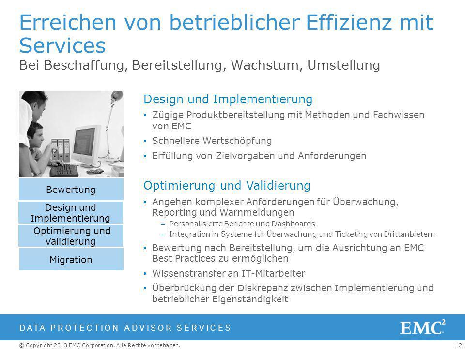 12© Copyright 2013 EMC Corporation. Alle Rechte vorbehalten. Erreichen von betrieblicher Effizienz mit Services Bei Beschaffung, Bereitstellung, Wachs