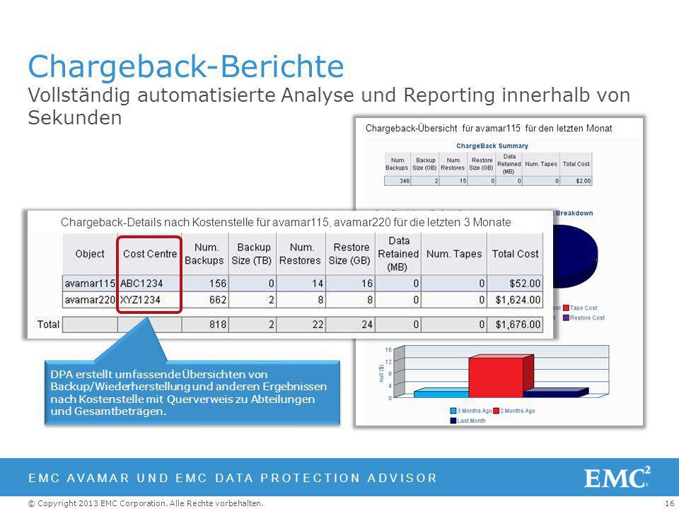 16© Copyright 2013 EMC Corporation. Alle Rechte vorbehalten. Chargeback-Übersicht für avamar115 für den letzten Monat Chargeback-Berichte Vollständig