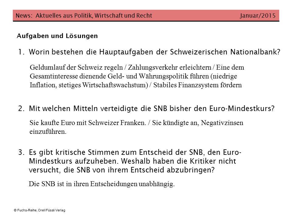 News: Aktuelles aus Politik, Wirtschaft und Recht Januar/2015 © Fuchs-Reihe, Orell Füssli Verlag 4.Mit welchen Massnahmen will die Politik die Wirtschaft unterstützen.