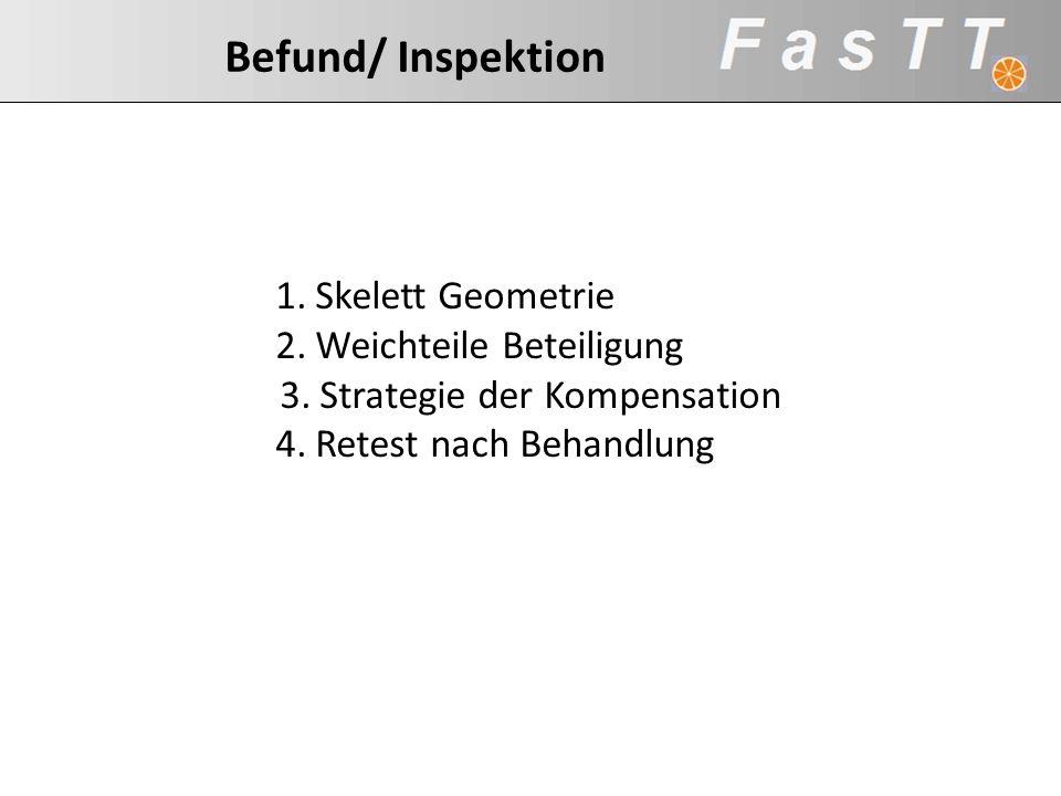 Befund/ Inspektion 1.Skelett Geometrie 2.Weichteile Beteiligung 3.Strategie der Kompensation 4.Retest nach Behandlung