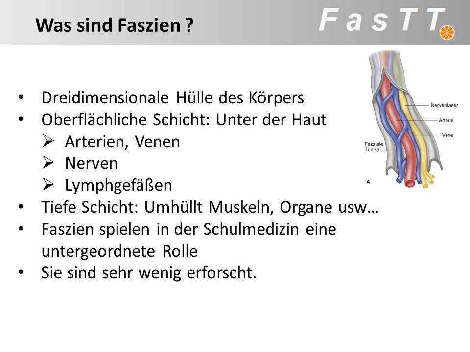 Spezialisierte Form des Bindegewebes Kollagen: 10% dehnbar Elastin: 100% dehnbar Reticulin: verbindet alle Anteile des BG Kollagen Matrix Woraus bestehen die Faszien ?
