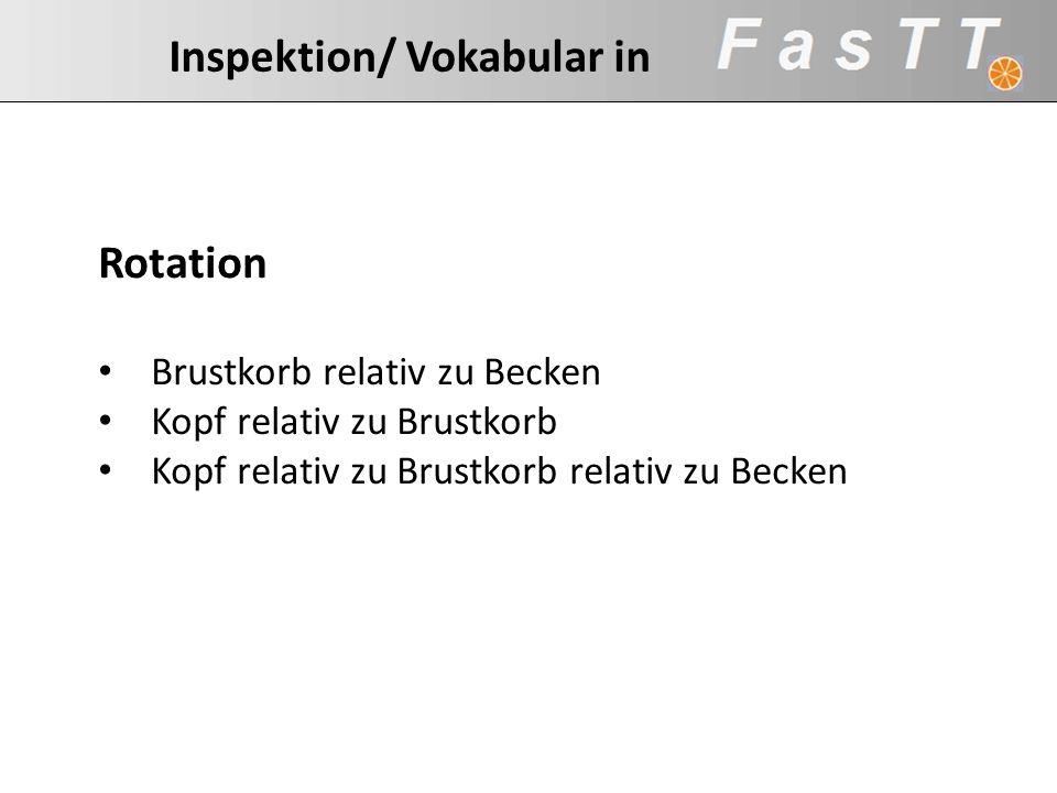 Inspektion/ Vokabular in Rotation Brustkorb relativ zu Becken Kopf relativ zu Brustkorb Kopf relativ zu Brustkorb relativ zu Becken