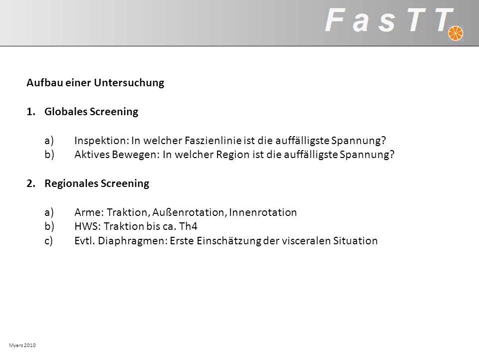 Myers 2010 Aufbau einer Untersuchung 1.Globales Screening a)Inspektion: In welcher Faszienlinie ist die auffälligste Spannung? b)Aktives Bewegen: In w