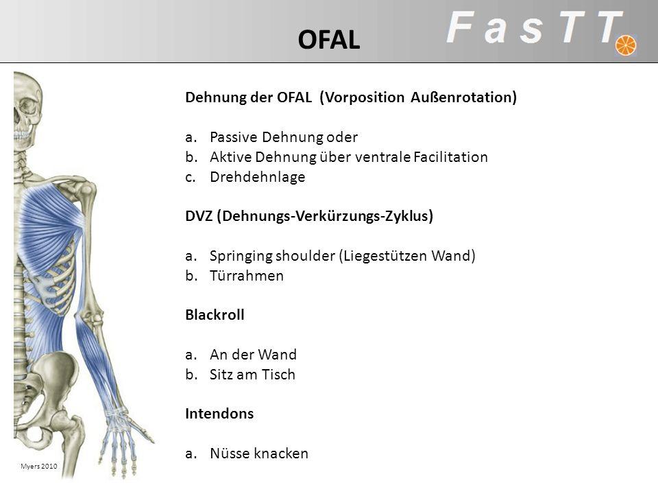 Myers 2010 Dehnung der OFAL (Vorposition Außenrotation) a.Passive Dehnung oder b.Aktive Dehnung über ventrale Facilitation c.Drehdehnlage DVZ (Dehnung