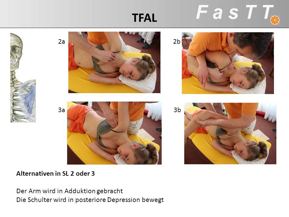 Alternativen in SL 2 oder 3 Der Arm wird in Adduktion gebracht Die Schulter wird in posteriore Depression bewegt 2a2b 3b3a TFAL