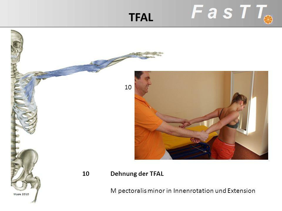 10Dehnung der TFAL M pectoralis minor in Innenrotation und Extension 10 TFAL