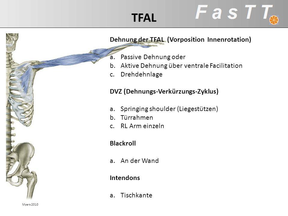 Myers 2010 TFAL Dehnung der TFAL (Vorposition Innenrotation) a.Passive Dehnung oder b.Aktive Dehnung über ventrale Facilitation c.Drehdehnlage DVZ (De