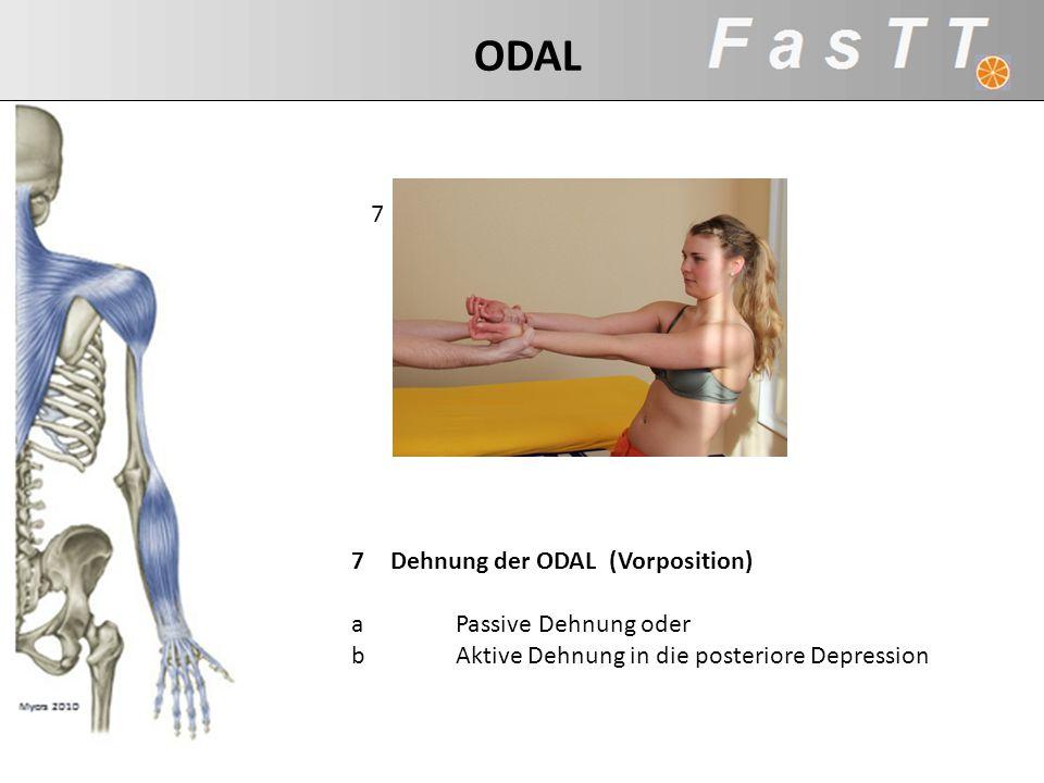 7 7Dehnung der ODAL (Vorposition) aPassive Dehnung oder bAktive Dehnung in die posteriore Depression ODAL