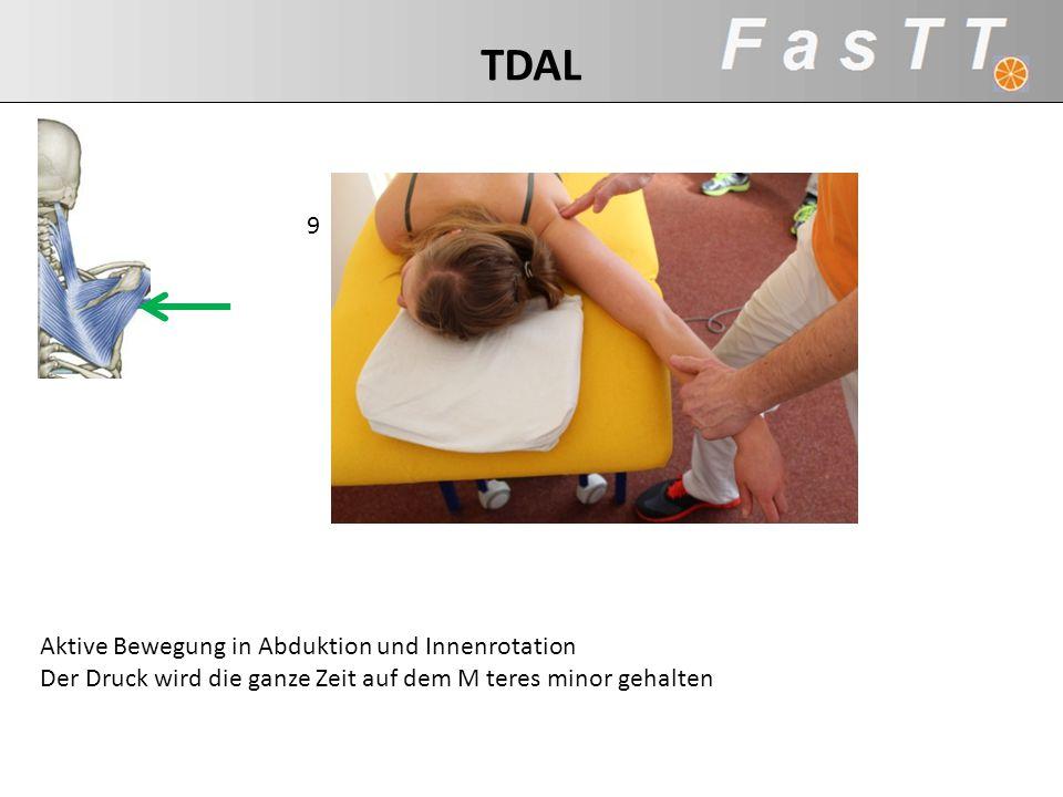 Aktive Bewegung in Abduktion und Innenrotation Der Druck wird die ganze Zeit auf dem M teres minor gehalten 9 TDAL