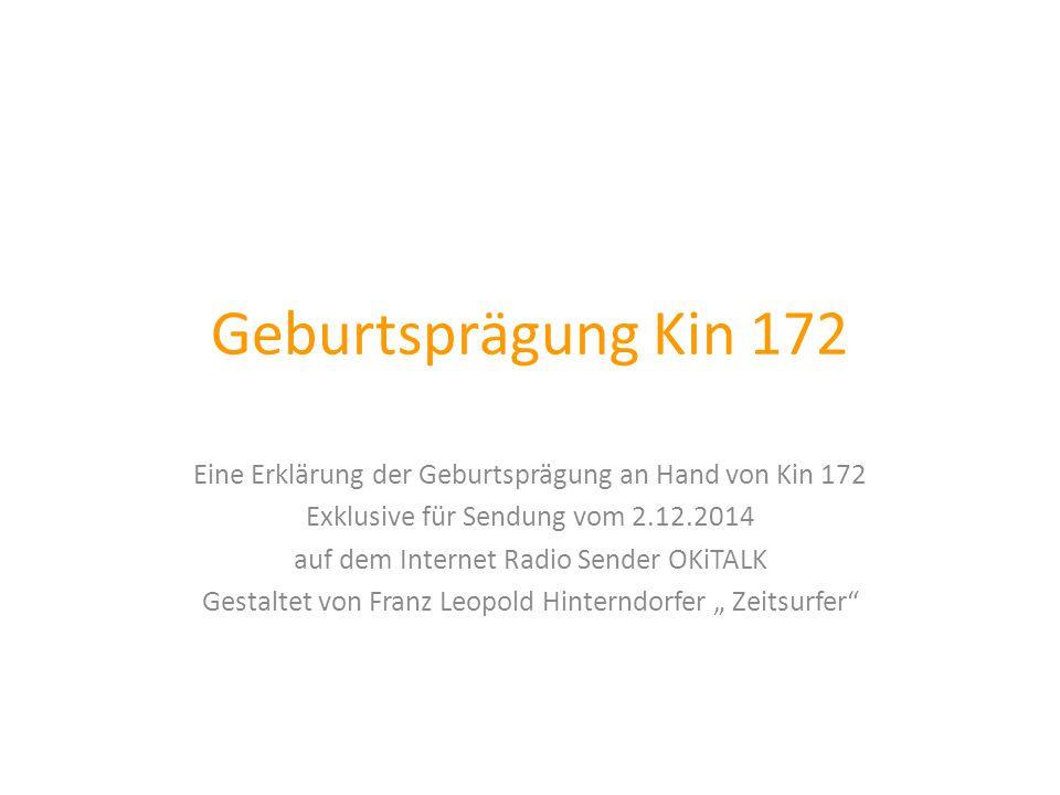 Geburtsprägung Kin 172 Eine Erklärung der Geburtsprägung an Hand von Kin 172 Exklusive für Sendung vom 2.12.2014 auf dem Internet Radio Sender OKiTALK