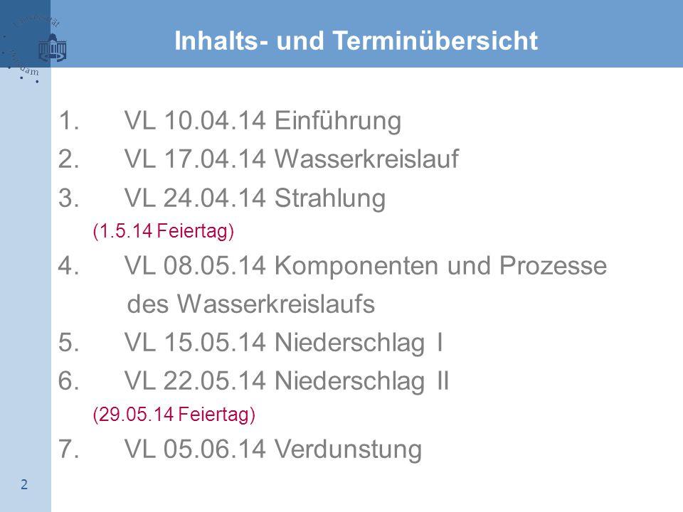 2 Inhalts- und Terminübersicht 1.VL 10.04.14 Einführung 2.