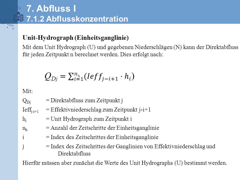 Unit-Hydrograph (Einheitsganglinie) Mit dem Unit Hydrograph (U) und gegebenen Niederschlägen (N) kann der Direktabfluss für jeden Zeitpunkt n berechnet werden.
