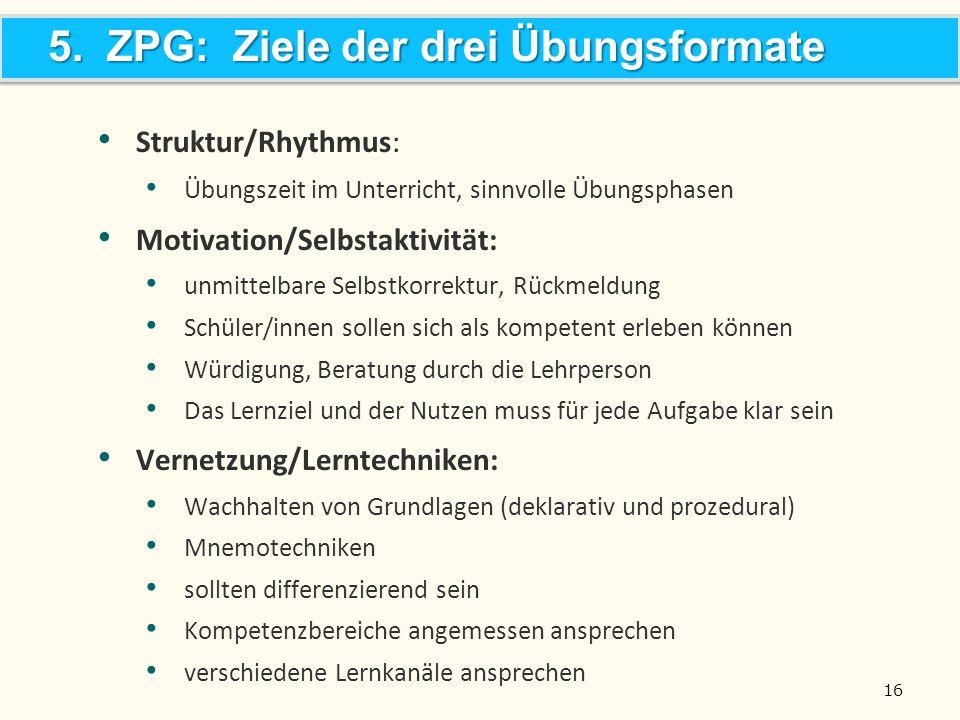 5. ZPG: Ziele der drei Übungsformate Struktur/Rhythmus: Übungszeit im Unterricht, sinnvolle Übungsphasen Motivation/Selbstaktivität: unmittelbare Selb