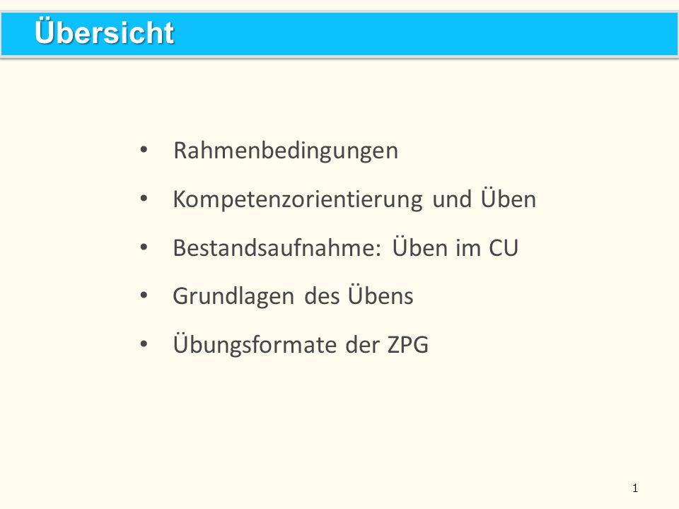 1 Rahmenbedingungen Kompetenzorientierung und Üben Bestandsaufnahme: Üben im CU Grundlagen des Übens Übungsformate der ZPG ÜbersichtÜbersicht
