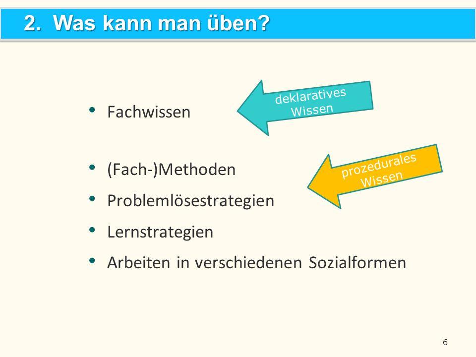 6 Fachwissen (Fach-)Methoden Problemlösestrategien Lernstrategien Arbeiten in verschiedenen Sozialformen 2. Was kann man üben? deklaratives Wissen pro