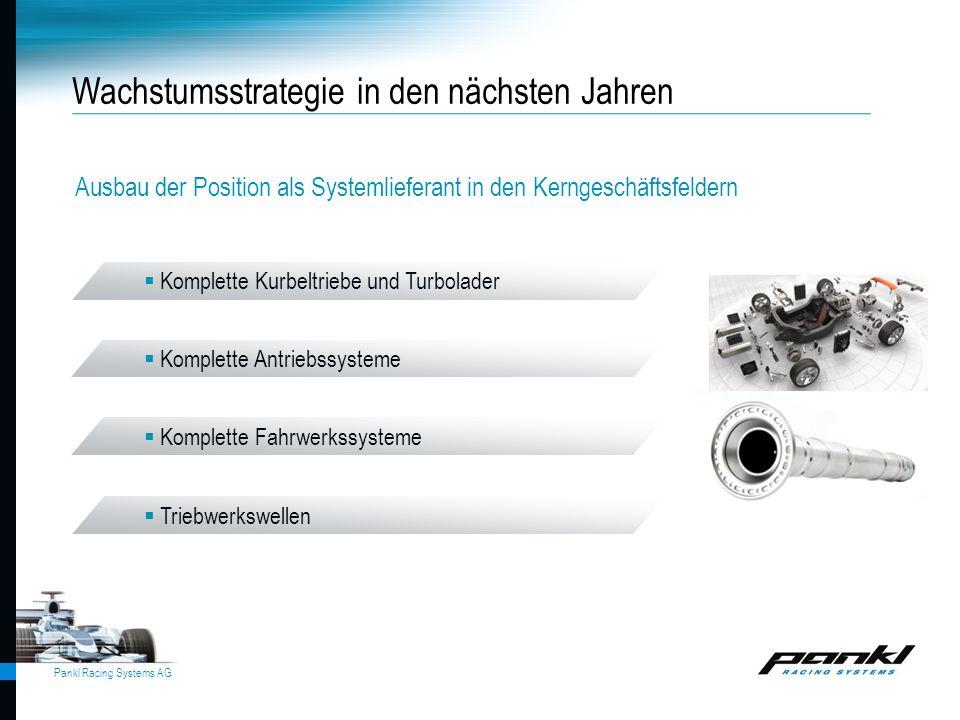 Pankl Racing Systems AG Wachstumsstrategie in den nächsten Jahren Ausbau der Position als Systemlieferant in den Kerngeschäftsfeldern  Komplette Kurb