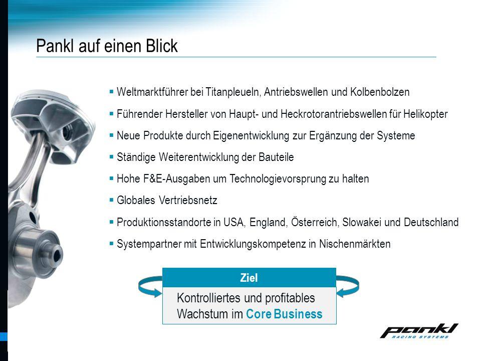 Pankl Racing Systems AG Pankl auf einen Blick  Weltmarktführer bei Titanpleueln, Antriebswellen und Kolbenbolzen  Führender Hersteller von Haupt- un