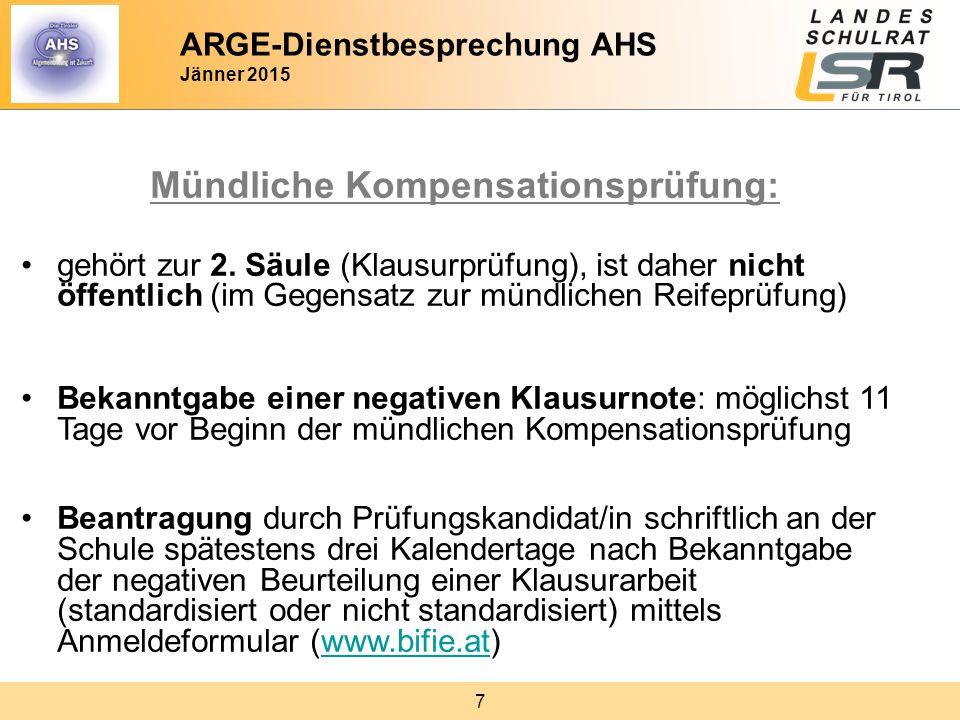 8 Mündliche Kompensationsprüfung: Alternative: Wiederholung der Klausurprüfung ab dem nächsten Termin Termin - wie bei standardisierten Prüfungsgebieten am 1.