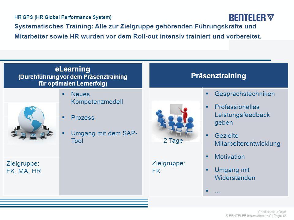 Confidential / Draft © BENTELER International AG   Page 12 HR GPS (HR Global Performance System) Systematisches Training: Alle zur Zielgruppe gehörend