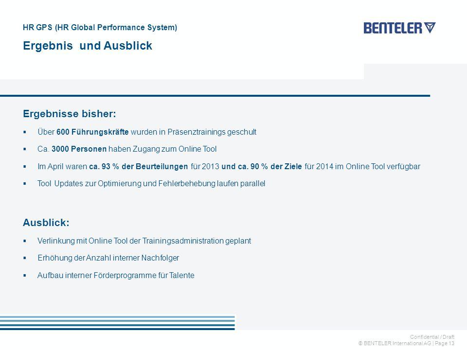 Confidential / Draft © BENTELER International AG | Page 13 HR GPS (HR Global Performance System) Ergebnis und Ausblick Ergebnisse bisher:  Über 600 Führungskräfte wurden in Präsenztrainings geschult  Ca.