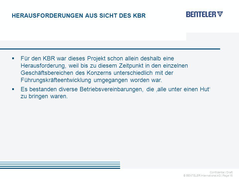 Confidential / Draft © BENTELER International AG | Page 15  Für den KBR war dieses Projekt schon allein deshalb eine Herausforderung, weil bis zu diesem Zeitpunkt in den einzelnen Geschäftsbereichen des Konzerns unterschiedlich mit der Führungskräfteentwicklung umgegangen worden war.