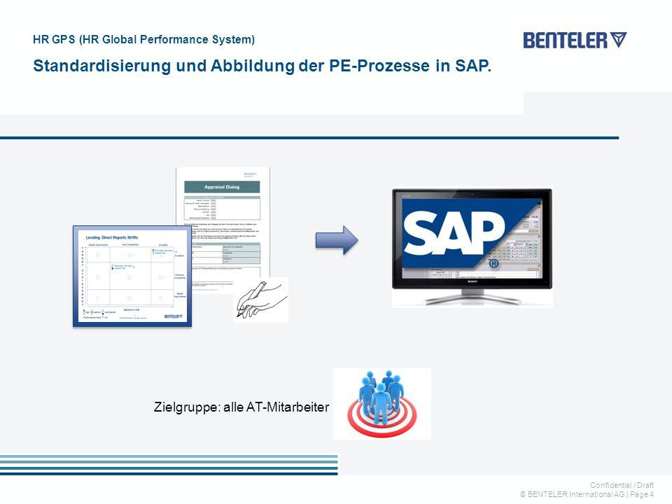 Confidential / Draft © BENTELER International AG   Page 4 HR GPS (HR Global Performance System) Standardisierung und Abbildung der PE-Prozesse in SAP.