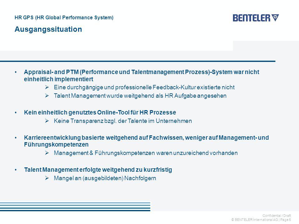 Confidential / Draft © BENTELER International AG   Page 5 Appraisal- and PTM (Performance und Talentmanagement Prozess)-System war nicht einheitlich i