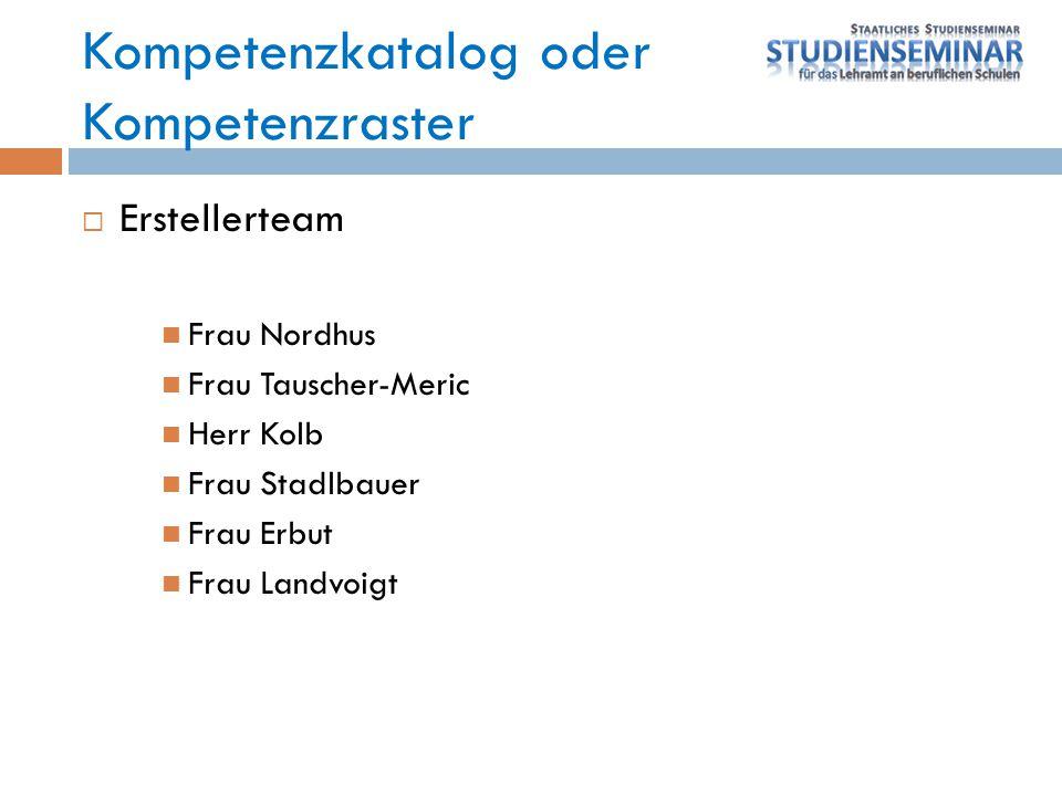  Erstellerteam Frau Nordhus Frau Tauscher-Meric Herr Kolb Frau Stadlbauer Frau Erbut Frau Landvoigt