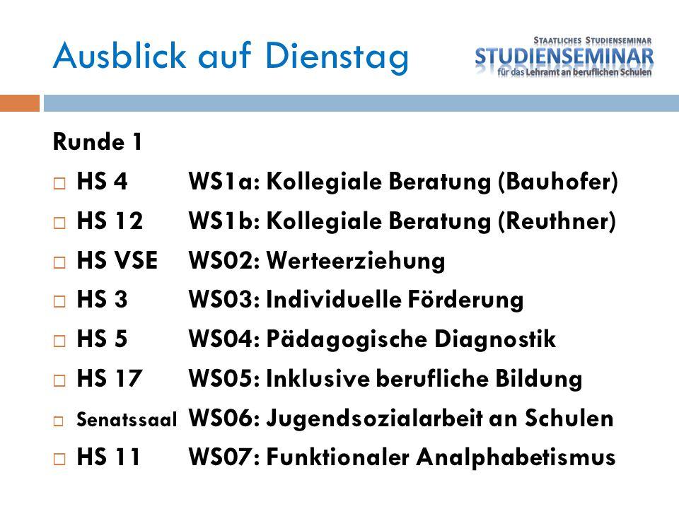 Ausblick auf Dienstag Runde 1  HS 4WS1a: Kollegiale Beratung (Bauhofer)  HS 12WS1b: Kollegiale Beratung (Reuthner)  HS VSEWS02: Werteerziehung  HS