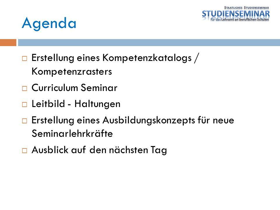 Agenda  Erstellung eines Kompetenzkatalogs / Kompetenzrasters  Curriculum Seminar  Leitbild - Haltungen  Erstellung eines Ausbildungskonzepts für