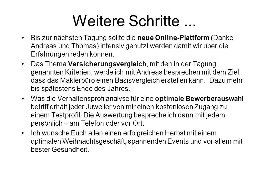Weitere Schritte... Bis zur nächsten Tagung sollte die neue Online-Plattform (Danke Andreas und Thomas) intensiv genutzt werden damit wir über die Erf
