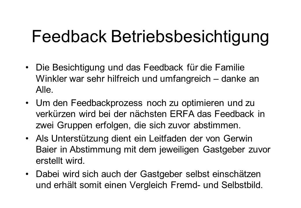 Feedback Betriebsbesichtigung Die Besichtigung und das Feedback für die Familie Winkler war sehr hilfreich und umfangreich – danke an Alle. Um den Fee