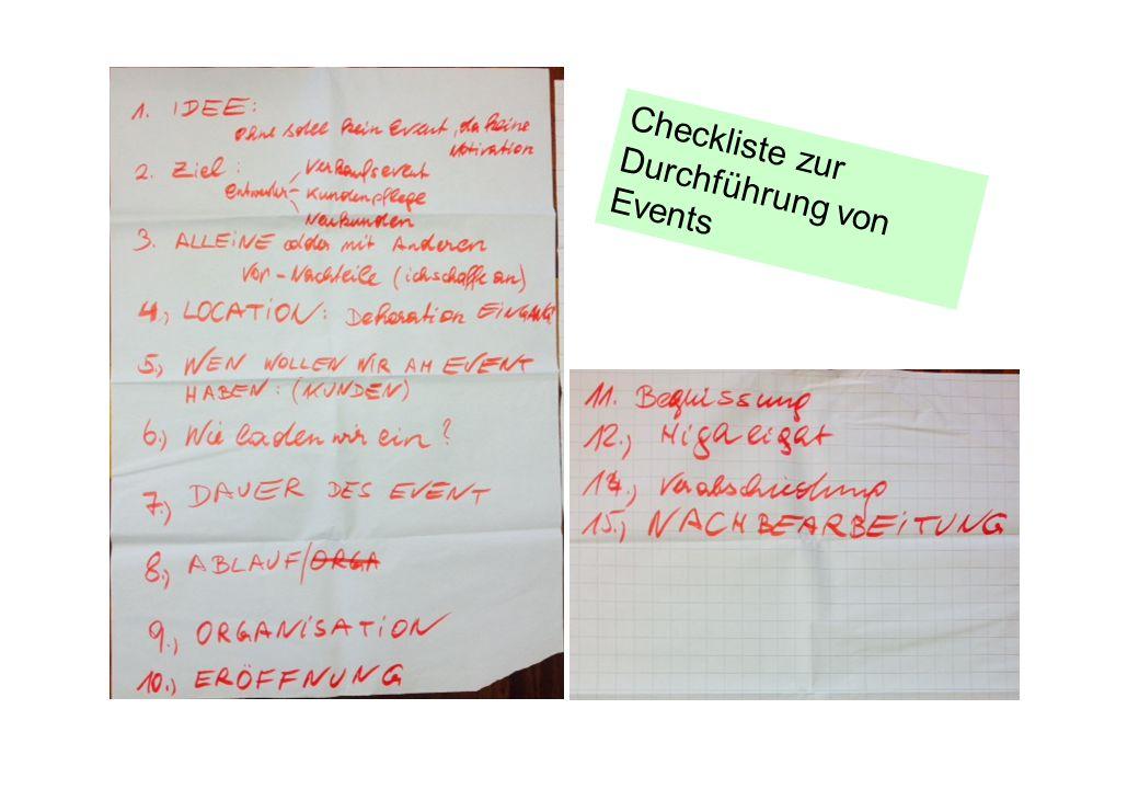 Checkliste zur Durchführung von Events