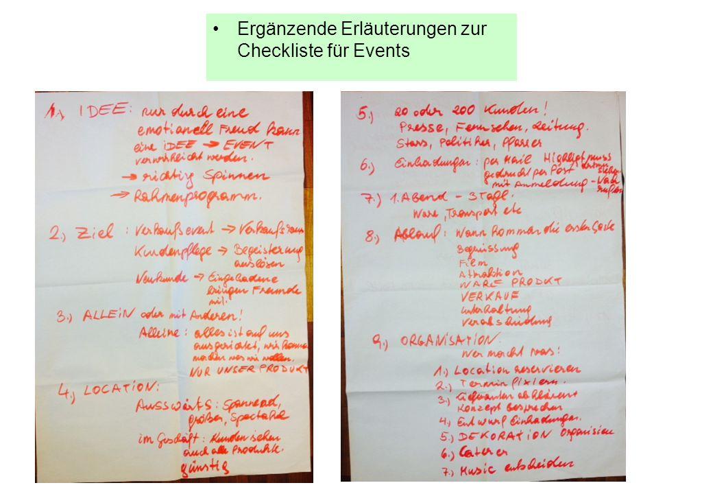 Ergänzende Erläuterungen zur Checkliste für Events