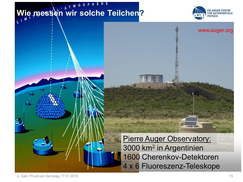 U. Katz: Physik am Samstag, 17.01.201515 Wie messen wir solche Teilchen? www.auger.org Pierre Auger Observatory: 3000 km 2 in Argentinien 1600 Cherenk