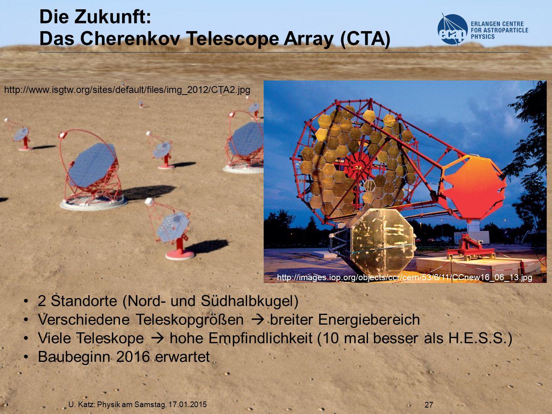 U. Katz: Physik am Samstag, 17.01.2015 27 Die Zukunft: Das Cherenkov Telescope Array (CTA) 2 Standorte (Nord- und Südhalbkugel) Verschiedene Teleskopg