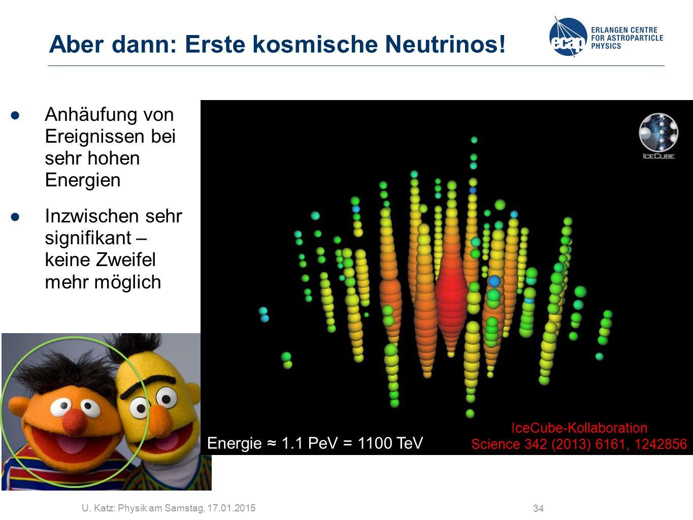U. Katz: Physik am Samstag, 17.01.2015 34 Aber dann: Erste kosmische Neutrinos! ●Anhäufung von Ereignissen bei sehr hohen Energien ●Inzwischen sehr si