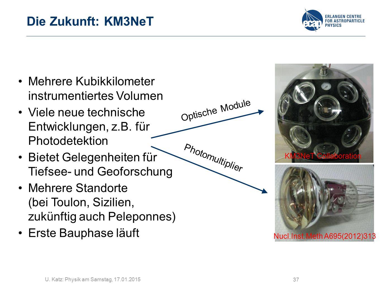 U. Katz: Physik am Samstag, 17.01.2015 37 Die Zukunft: KM3NeT Mehrere Kubikkilometer instrumentiertes Volumen Viele neue technische Entwicklungen, z.B
