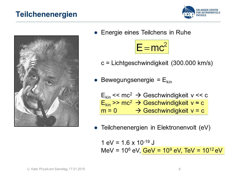 U. Katz: Physik am Samstag, 17.01.2015 6 Teilchenenergien ●Energie eines Teilchens in Ruhe c = Lichtgeschwindigkeit (300.000 km/s) ●Bewegungsenergie =