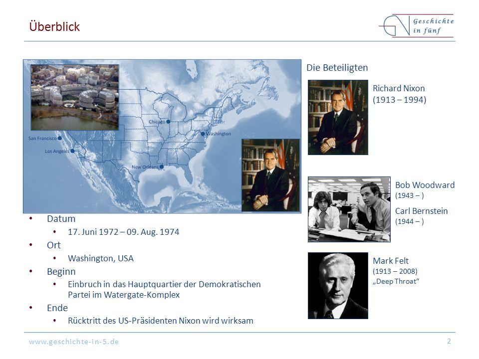 www.geschichte-in-5.de Überblick Datum 17. Juni 1972 – 09. Aug. 1974 Ort Washington, USA Beginn Einbruch in das Hauptquartier der Demokratischen Parte