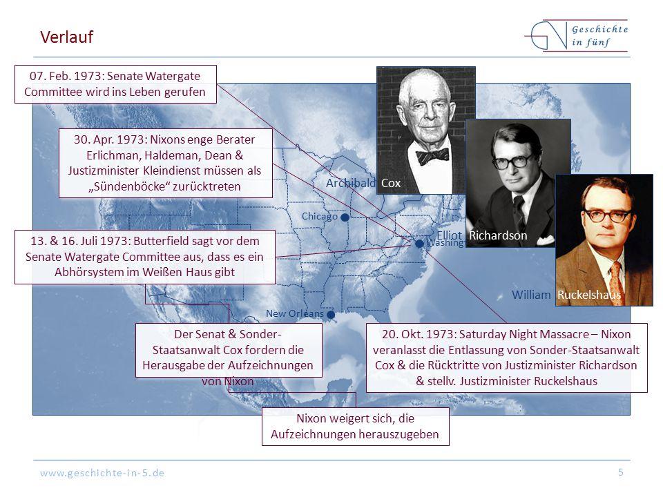 www.geschichte-in-5.de Washington San Francisco New Orleans Chicago Los Angeles Verlauf 5 07. Feb. 1973: Senate Watergate Committee wird ins Leben ger