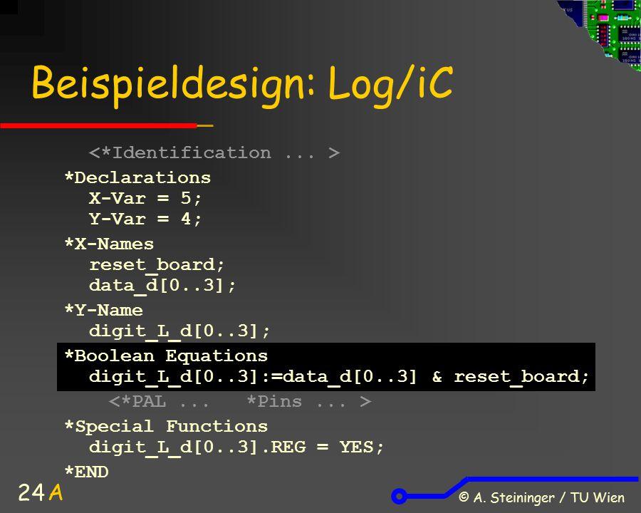 © A. Steininger / TU Wien 24 Beispieldesign: Log/iC *Declarations X-Var = 5; Y-Var = 4; *X-Names reset_board; data_d[0..3]; *Y-Name digit_L_d[0..3]; *