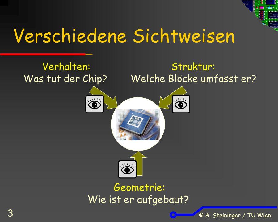 © A. Steininger / TU Wien 3 Verschiedene Sichtweisen Verhalten: Was tut der Chip? Struktur: Welche Blöcke umfasst er? Geometrie: Wie ist er aufgebaut?