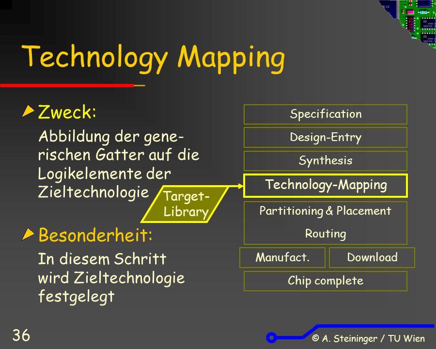 © A. Steininger / TU Wien 36 Technology Mapping Zweck: Abbildung der gene- rischen Gatter auf die Logikelemente der Zieltechnologie Besonderheit: In d