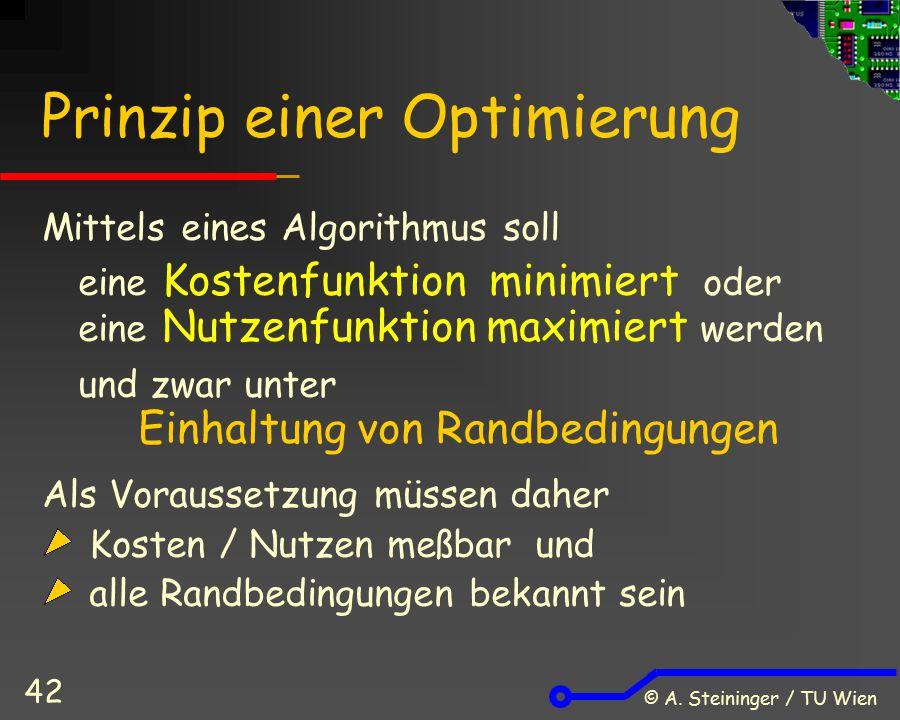 © A. Steininger / TU Wien 42 Prinzip einer Optimierung Mittels eines Algorithmus soll eine Kostenfunktion minimiert oder eine Nutzenfunktion maximiert