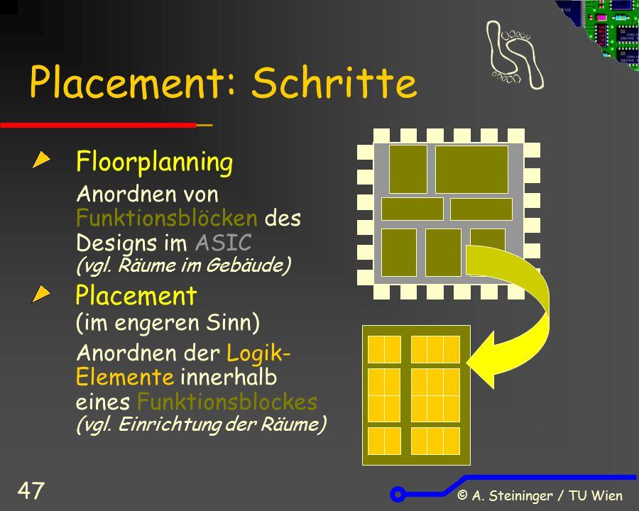 © A. Steininger / TU Wien 47 Placement: Schritte Floorplanning Anordnen von Funktionsblöcken des Designs im ASIC (vgl. Räume im Gebäude) Placement (im