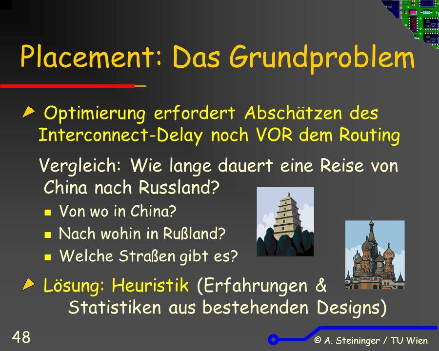 © A. Steininger / TU Wien 48 Placement: Das Grundproblem Optimierung erfordert Abschätzen des Interconnect-Delay noch VOR dem Routing Vergleich: Wie l