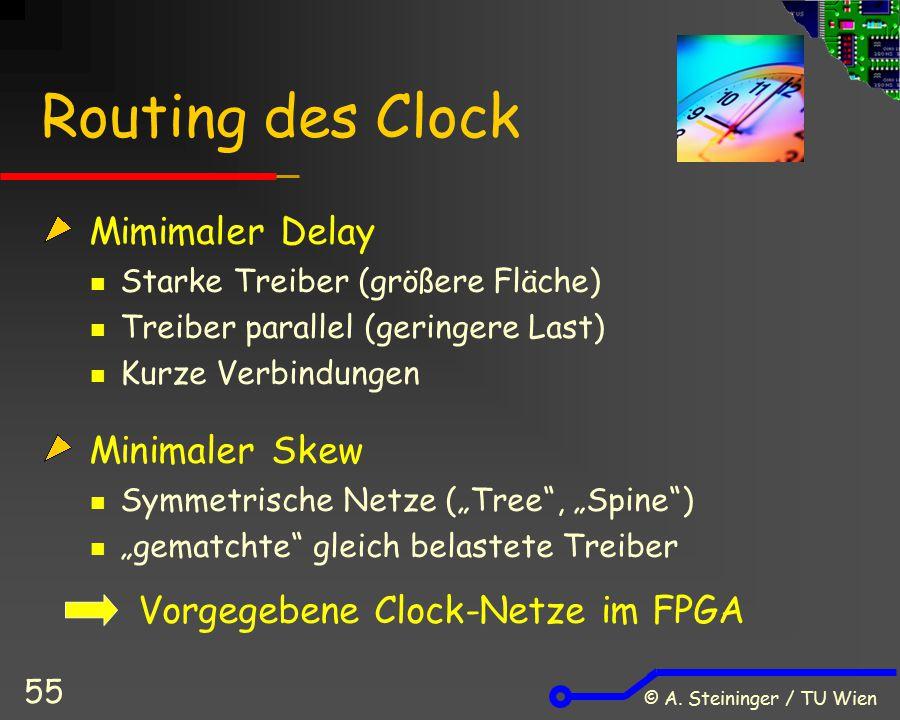 © A. Steininger / TU Wien 55 Routing des Clock Mimimaler Delay Starke Treiber (größere Fläche) Treiber parallel (geringere Last) Kurze Verbindungen Mi
