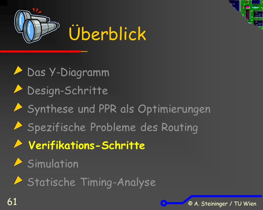 © A. Steininger / TU Wien 61 Das Y-Diagramm Design-Schritte Synthese und PPR als Optimierungen Spezifische Probleme des Routing Verifikations-Schritte
