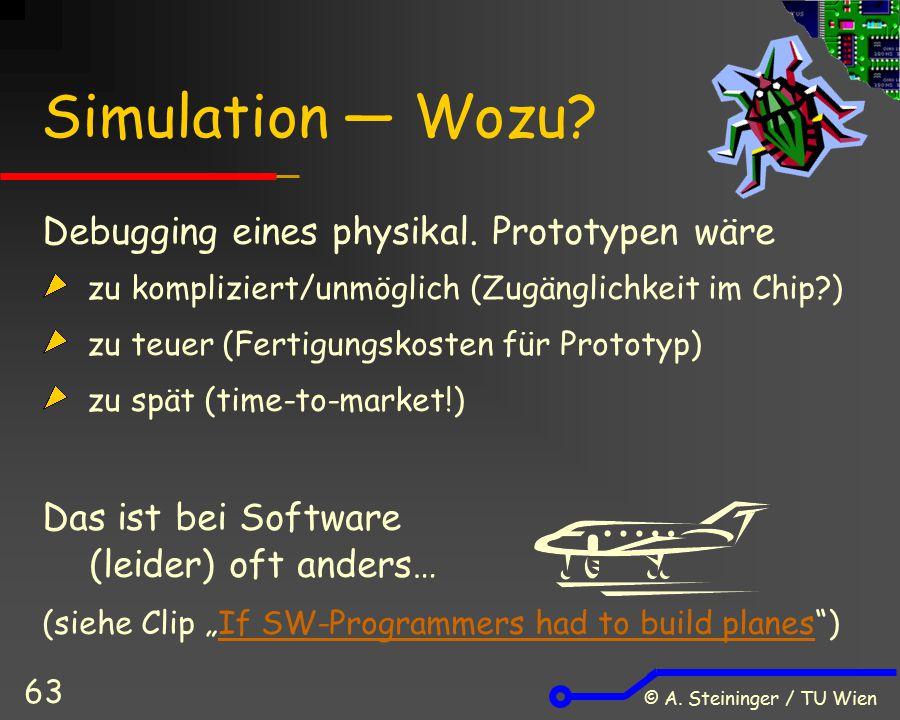 © A. Steininger / TU Wien 63 Simulation ― Wozu? Debugging eines physikal. Prototypen wäre zu kompliziert/unmöglich (Zugänglichkeit im Chip?) zu teuer